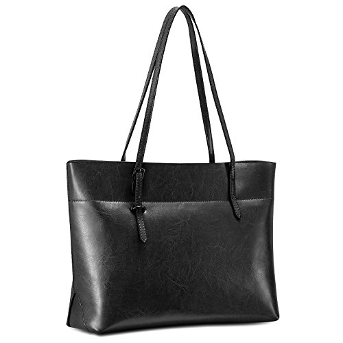 Kattee Vintage Genuine Leather Tote Shoulder Bag With Adjustable Handles (Black)