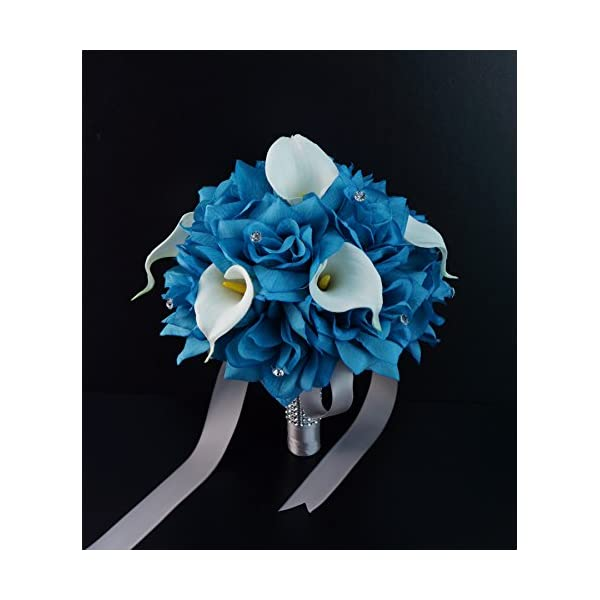 Angel Isabella 20pc Wedding Bridal Party Flower Package- Malibu/Turquoise,Natural White.Rose,Real Touch Calla Lily Bouquet,Boutonniere,Wrist Corsage