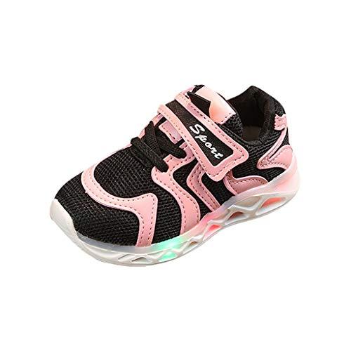 HYIRI Led Light Luminous Shoes,Children Baby Girls Boys Letter Running Sport Sneaker Shoes(Toddler/Little Kid/Big Kid) Pink
