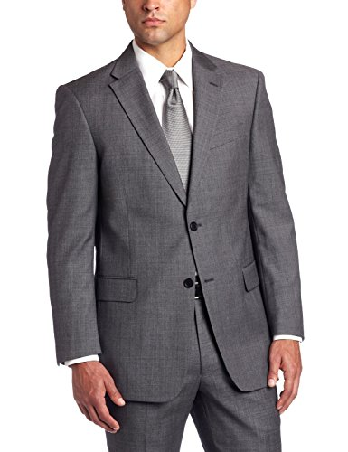 Tommy Hilfiger Men's Keene Solid Gray Two Button Trim Fit 2-Piece 100% Wool Suit
