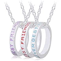 Yellow Chimes 3 Pcs Best Friends Combo Silver Plated Pendant for Girls (Multi-Color)(YCFJPD-N34BST-SL)