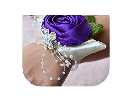 meiguiyuan Light Purple Pearl Crystal Flower Bracelet Pink Flower Bridesmaid Bracelet Hand Wrist Flower Wedding Bridesmaids Accesories,Purple ()
