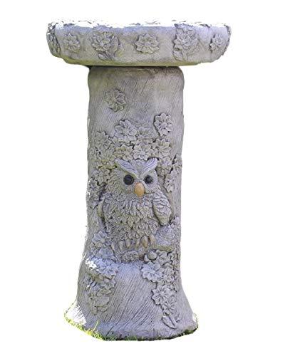 Owl Birdbath, Stone Garden Ornament, Decor, Made in Cornwall, Cornwall Stoneware Company, Birdbath, Bird feeder, Gift Idea