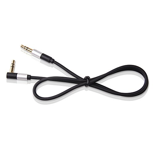 DTECH 3.5mm AUX Audio Cable 1.5 Feet Male to Male Right Angle 90 Degree Auxiliary Cord, Compatible for Smartphones, Tablets, Car Stereo, Headphone, PC, Speaker, MP3