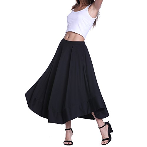 Fancyqube Women's High Waist Elastic Waist Flared A Line Pleated Drape Midi Skirt with Pocket Black M