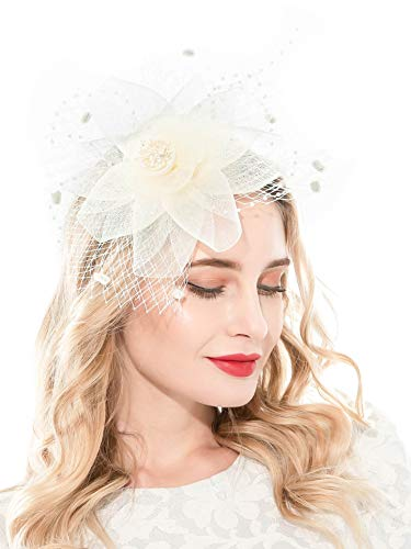 Fascinators Headband for Women Tea Party Hat Kentucky Derby Wedding Flower Mesh Feathers Hair Clip (X-Beige)