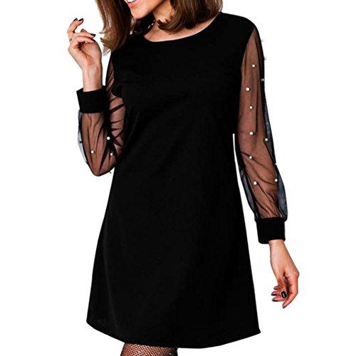 POachers Robe Femme Chic Trapèze Mini-robe été Femme Manche Longue Col Rond Dress Taille S à XL