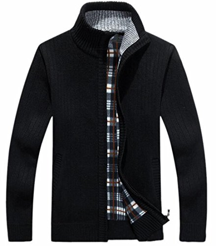 Jacket Zip Black Knitted Collar Stand today Up Cardigan UK Mens Fashion Sweater xtZqtP7vw