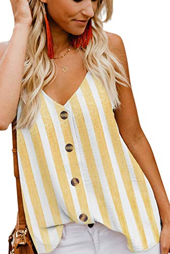 Tank Strip - GOLDPKF Women Cute Sleeveless Shirts Striped Blouses Button Up V Neck Spaghetti Strap Fashion Cami Tank Top Yellow XXL