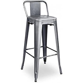 Amazon Com Mc Low Back Bar Stool Wood Seat 30 Quot Gunmetal