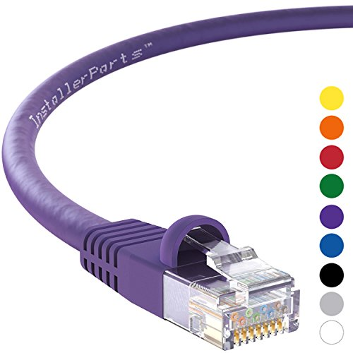 InstallerParts CAT5E Ethernet Cable 2 FT Purple - UTP Booted - Professional Series - 1 Gigabit/Sec Network/Internet Cable, (Transition Series 2 Jacket)