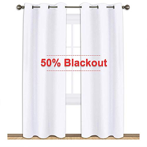 NICETOWN Wimdow Treatment Curtain Set - 50% Light Reducing Curtains for Living Room, Curtain Panels for Patio Door (2 Panels,42-Inch x 84-Inch,Pure ()