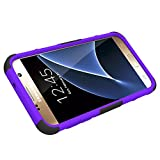 Galaxy S7 Case, HLCT Rugged Shock Proof Dual-Layer PC and Soft Silicone Case With Built-In Kickstand for Samsung Galaxy S7 (2016) (Purple)