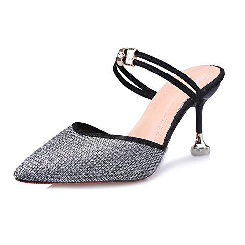 Btrada Women's Sexy Heeled Slide Sandals Pointy Toe Slip On Ankle Strap Kitten Heel Mules Pumps Dress Shoes Silver