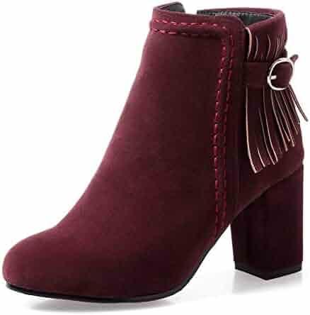 230afcf0c86 SFNLD Women s Pretty Faux Suede Tassels Buckle Round Toe Side Zipper Chunky High  Heels Ankle Short