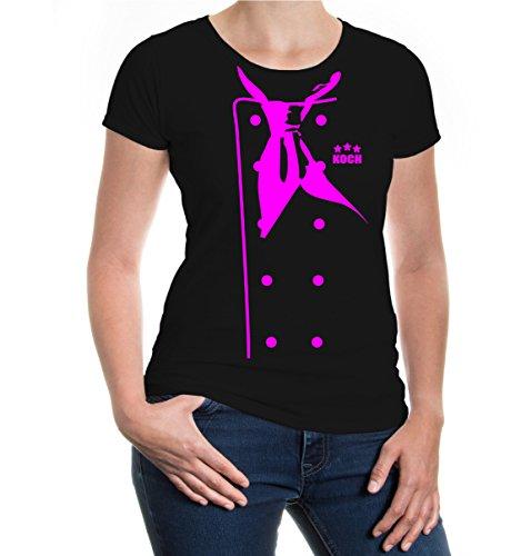 Girlie T-Shirt Chef-Jacket Black