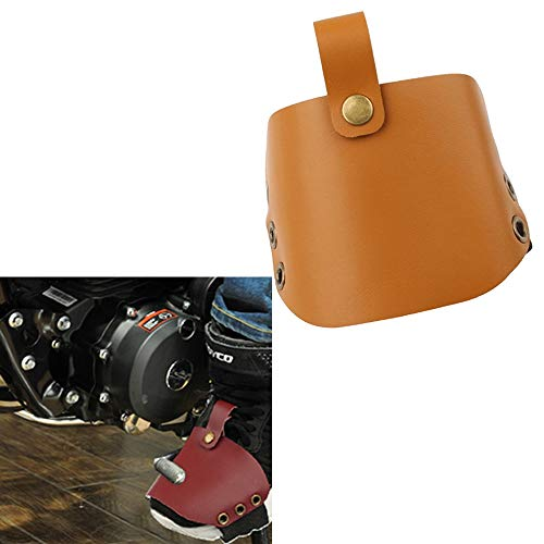 Motorcycle Shoes Protective Leather Gear Shift Shoe Sock Boots Protector Cover Shifter Pad Pedal For Harley 883 1200 XL Indian Victory Honda Suzuki Yamaha BMW KTM Motorbike Motocross Racing (Yellow)