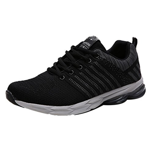 Mens Casual Breathable Sports Shoes Fashion Lace-Up Blade Outdoor Gym Running Sneakers (Black, - Shoes Sketcher Brown Tennis