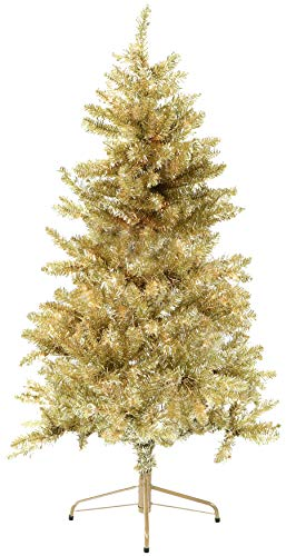 Fraser Hill Farm, Gold 7-Ft. Festive Tinsel Christmas Tree (Angeles Los Artificial Christmas Trees)