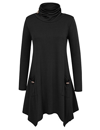 Grace Karin Women Casual Long Sleeve Tunic Top with Pockets Size M Black -