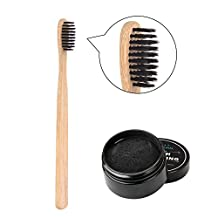 Redcolourful Activated Carbon Teeth Whitening Powder Set with Bamboo Charcoal Toothbrush