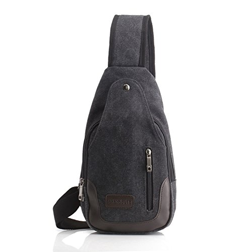 Sling Knapsack (GREAT ROCK Vintage Canvas Hiking iPad Sling Knapsack backpacking chest pack, Dark Gray)