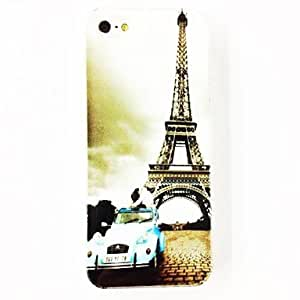 Eiffel Tower Car Pattern TPU Soft Case for iPhone 5/5S , Multicolor
