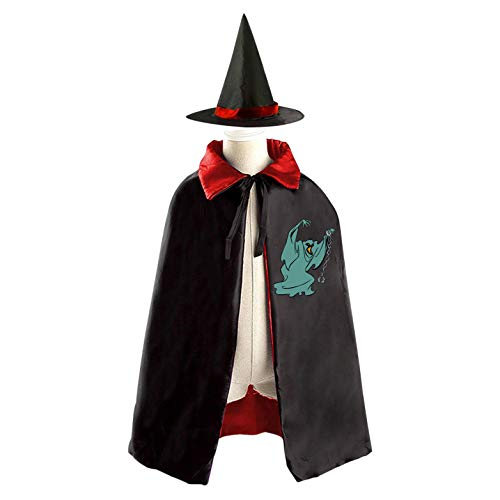 69PF-1 Halloween Cape Matching Witch Hat Evil Demon Wizard Cloak Masquerade Cosplay Custume Robe Kids/Boy/Girl Gift Red -
