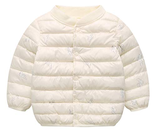 Happy Cherry Children Lined Puffy Jacket Coat with Lovely Cartoon Print Regular Warm Kids Clothing for Spring Autumn Winter White L