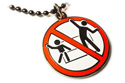 Disney Donald Pendants - Disney No Standing Disco Dancing Ride Sign Fantasy Pendant Necklace with Ball Chain