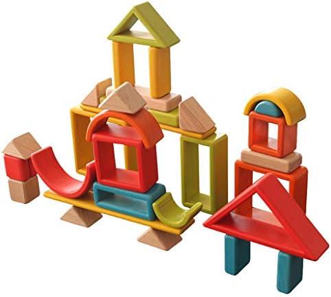 DYNWAVE 子供のクリスマスギフトを学ぶ木の虹の建物のスタッキングブロック色の形