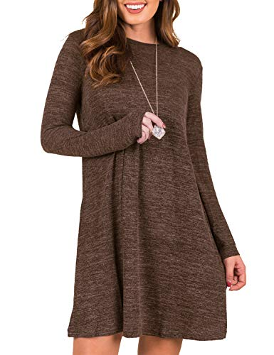 Blooming Jelly Women's Plain Tunic Dress Long Sleeve Casual Sweater Mini Dress