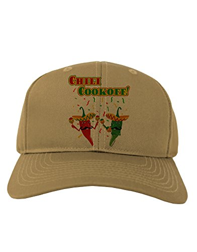 TooLoud Chili Cookoff! Chile Peppers Adult Baseball Cap Hat - Khaki (Chili Pepper Hat)
