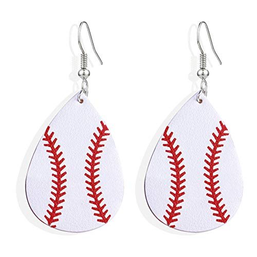 SUMMER LOVE Faux Leather Teardrop Earrings for Women Basketball Football Volleyball Leather Earrings Dangle Drop Earrings Jewelry Earrings (Baseball #1) ()
