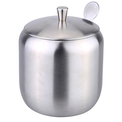 Anself Stainless Steel Cruet Seasoning Condiment Pot Sugar Coffee Can Container Drum Shaped Spoon by Anself