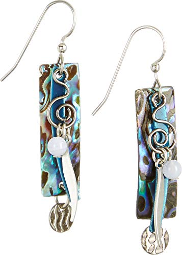 Silver Forest Abalone Rectangle Blue Earrings One Size Blue/silver tone