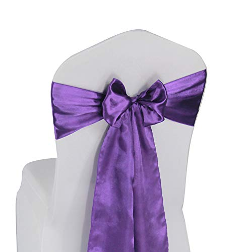 (Purple Satin Chair Sashes Bows - 50 pcs Wedding Banquet Party Event Decoration Chair Bows (Purple, 50))
