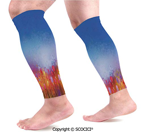 Flexible Breathable Comfortable Leg Skin Protector Sleeve Tulip Garden Under Blue Sky in Medieval Ottoman Culture Symbols Calf Compression Sleeve