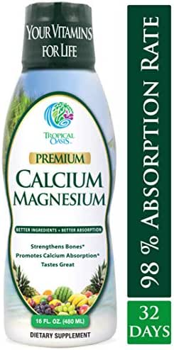 Tropical Oasis Liquid Calcium & Magnesium - Natural formula w/ support for strong bones - Liquid vitamins w/ calcium,  - 16oz, 32 Serv.
