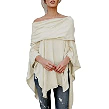 Alixyz Womens Casual Tops Off Shoulder Shirt Sexy Irregular Fashion Blouse