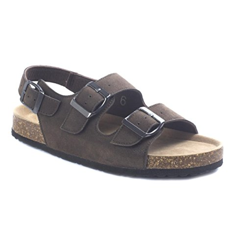 Outwoods Women's Bork-58 Vegan Leather Double-Strap Adjustable Ankle Strap Flat Sandals (6 B(M) US, Brown Nubuck) (Double Buckle Ankle Strap)