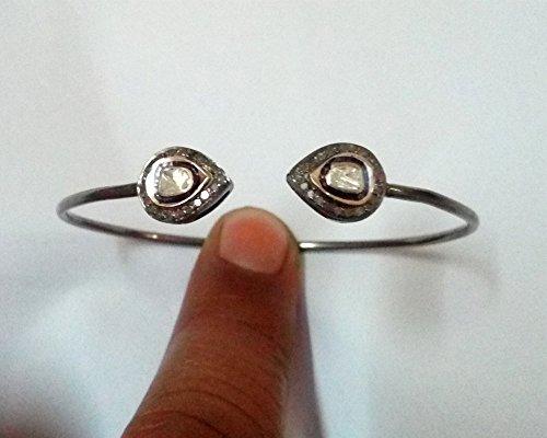 Sparkling Pave Polki Diamond Oxidized thin cuff Bracelet Jewelry (Diamonds Sparkling Bracelet)
