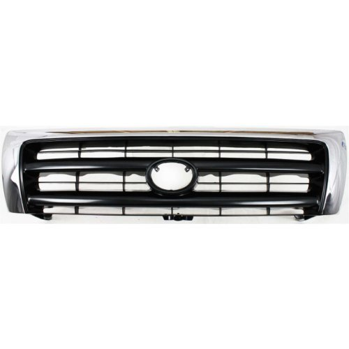 (MAPM Car & Truck Grilles Plastic Chrome Shell w/Silver Insert Grille With emblem provision TO1200213 FOR 1997-2000 Toyota Tacoma)