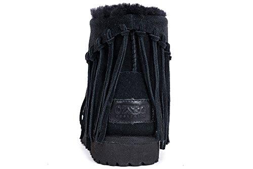 OZZEG Peau de mouton bottes neige Long Tassel mode hiver chaussures chaudes Ladies' doublure (39.5, noir)