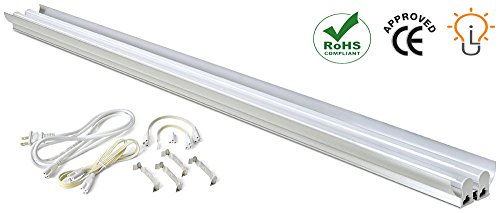 (UPDATED) LED Shop Light by Light Itup– 4200 Lumen 4000K, 40 Watt, 4 Feet Long Integrated Double-Fixture LED Tube Lights – Ideal as Work Lights – Perfect for Workshops, Basements, Parking Areas, etc (Garage Light Fixture With Outlet)