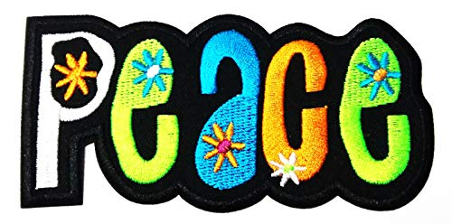 (Nipitshop Patches Peace Sign Hippie Boho Retro Flower Power Summer of Love Hippy Cartoon Embroidery Patches Sew On Patches Applique for Clothes Jackets T-Shirt Jeans Skirt Vests Scarf Hat Backpacks)