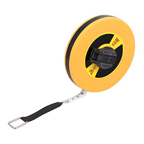 uxcell Surveyors 20M Double Side Metric Fiberglass Measure Tape Reel Roll Measuring Tool