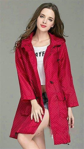 De Capuche Poches Poncho Pois Extérieur Casual Serrage Cordon Avec Avant Rouge Vêtement Dame Imperméable Mess Battercake Raincoat P0qtFRF6