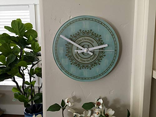 Qualtry Personalized Decorative Wall Clock for Living Room or Kitchen - Glass Contemporary Clocks, Unique Wedding Day and Warming Gifts (Without Stand, Clements Design)
