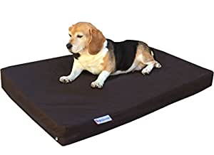 dogbed4less Durable Small Medium Gel Memory Foam Dog Bed with 1680 Nylon Brown Cover and Waterproof Liner with Bonus Cover, 35X20X4 Inches